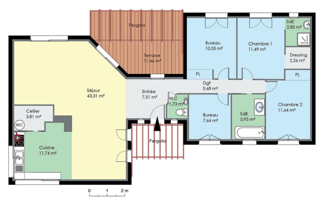 plan de maison plain pied 3 chambres gratuit. plan plain pied 5 ... - Plan De Maison 5 Chambres Plain Pied Gratuit