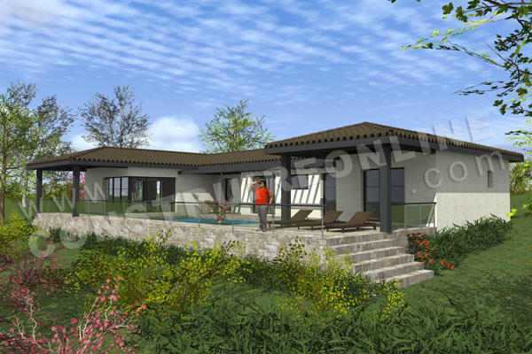 photo maison contemporaine sur terrain en pente