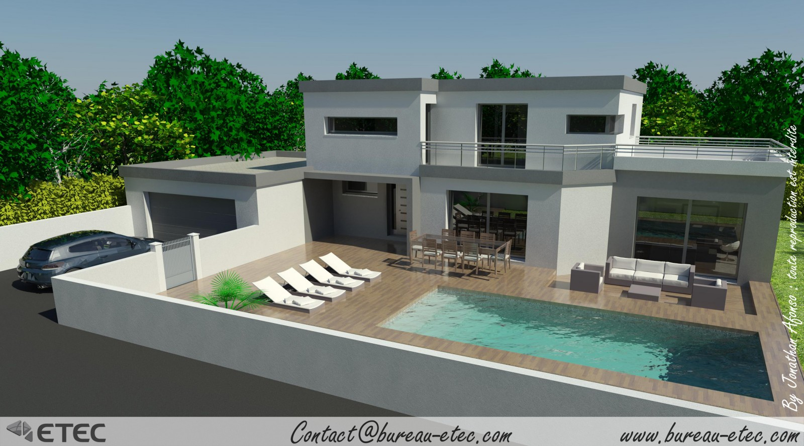 Maison moderne com for Local piscine toit plat