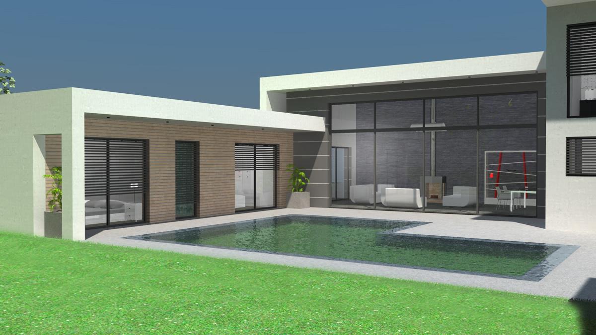 maison contemporaine toit plat. Black Bedroom Furniture Sets. Home Design Ideas