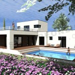 photo de maison avec piscine toit plat