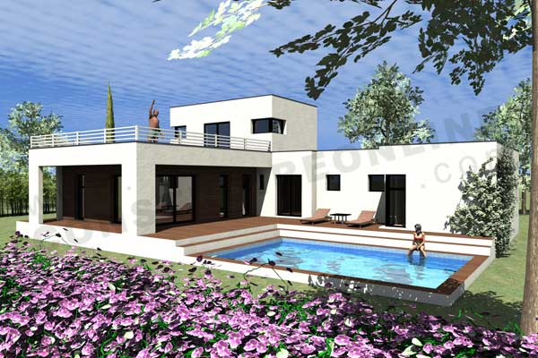 Photo de maison avec piscine toit plat - Photo maison avec piscine ...