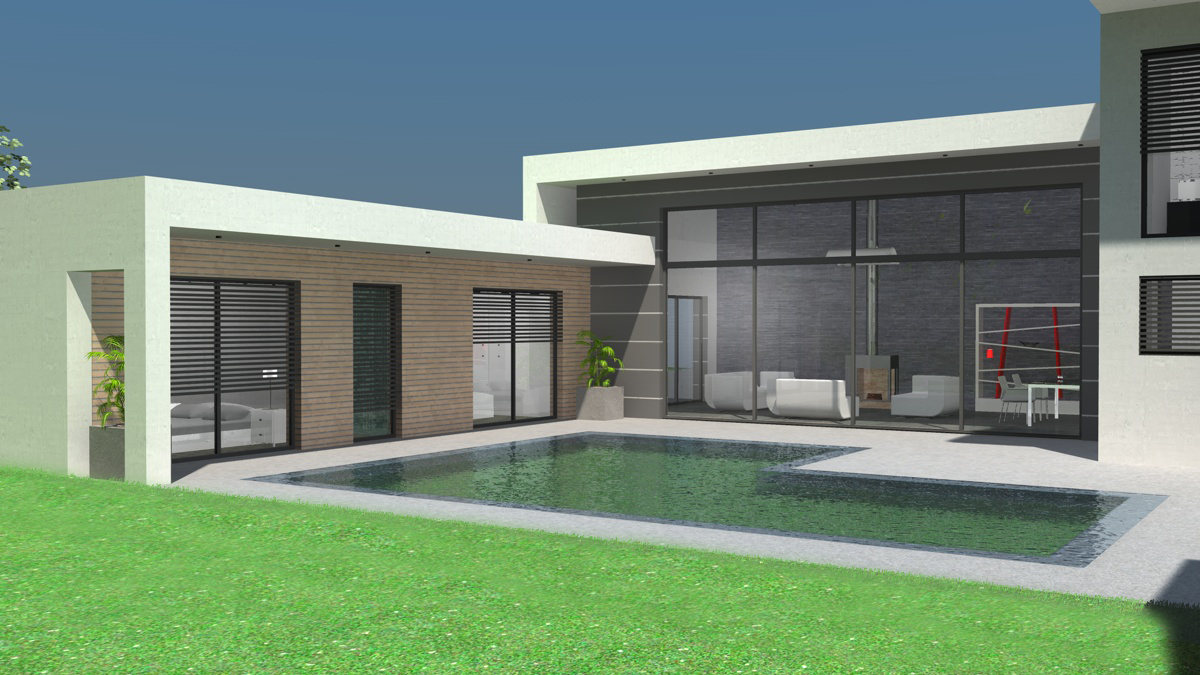 photo de maison de ville d architecte toit plat. Black Bedroom Furniture Sets. Home Design Ideas