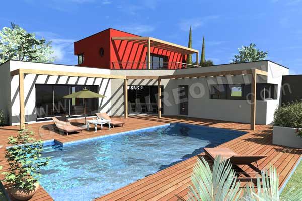 Favori maison avec piscine toit plat achat WB55