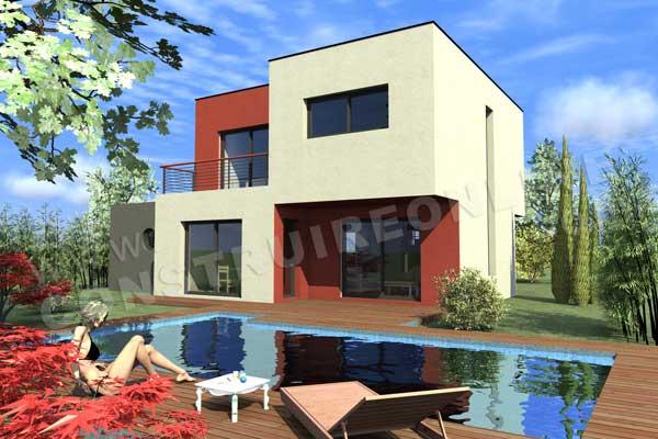 Maison avec piscine toit plat for Modele maison toit plat