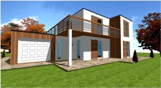 maison en kit contemporaine toit plat. Black Bedroom Furniture Sets. Home Design Ideas