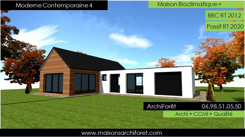 Maison kit bois de r ve toit plat - Modele de maison en bois ...