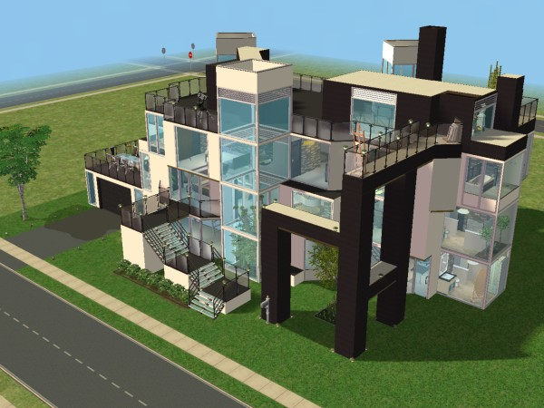 Moderne construction for Maison moderne de luxe sims 3