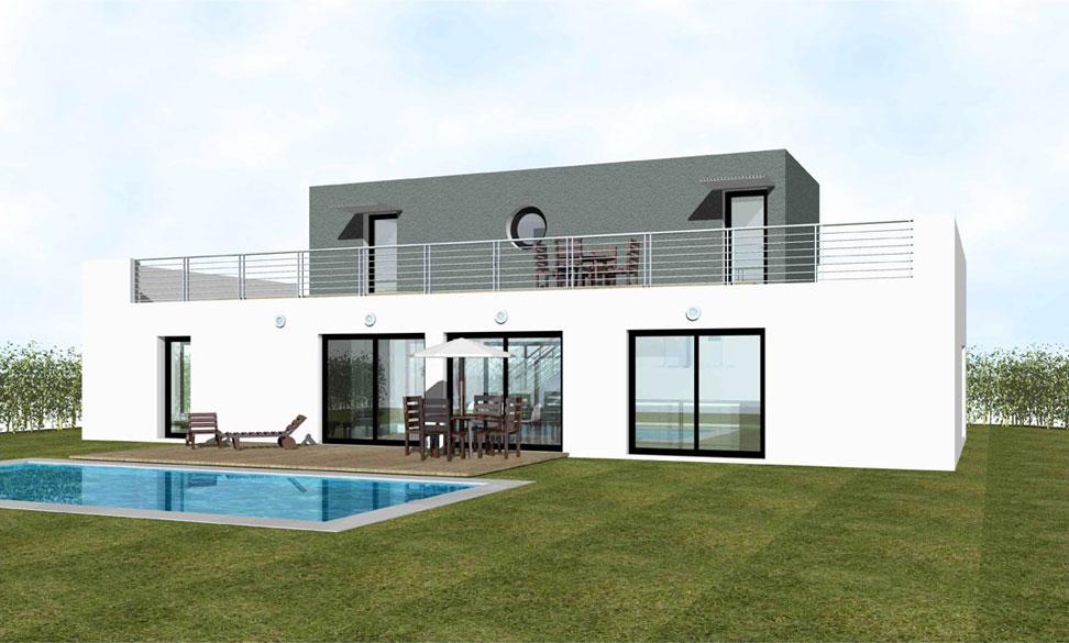 Maison toit plat for Modele de maison a construire moderne