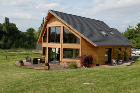 Photo de maison en bois de r ve toit plat for Prix de maison en bois