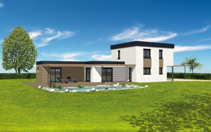 photo de maison en kit avec piscine toit plat. Black Bedroom Furniture Sets. Home Design Ideas