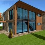 photo de maison en pierre contemporaine toit plat