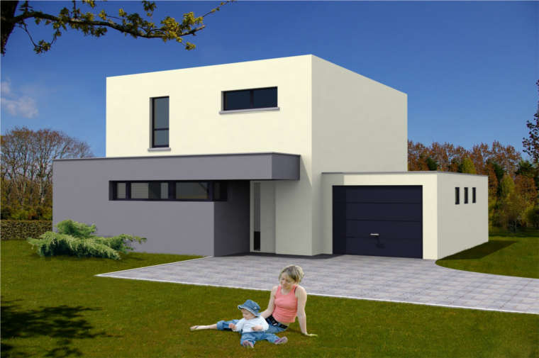 photo de maison neuve toit plat. Black Bedroom Furniture Sets. Home Design Ideas