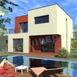 photo de maison originale avec piscine toit plat