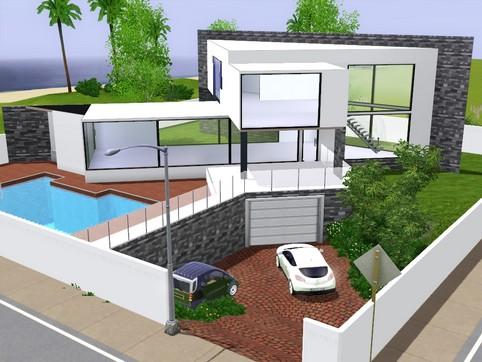 Maison de star moderne for Maison moderne sims 3