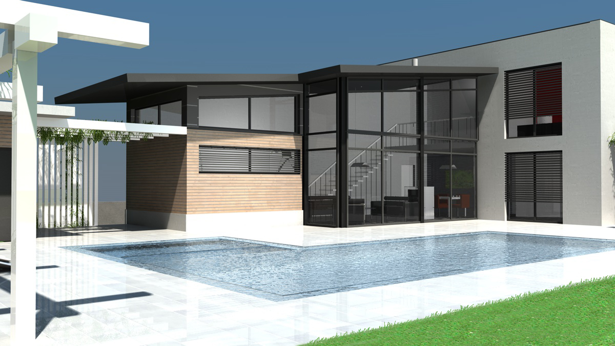 en pierre avec piscine toit plat achat. Black Bedroom Furniture Sets. Home Design Ideas