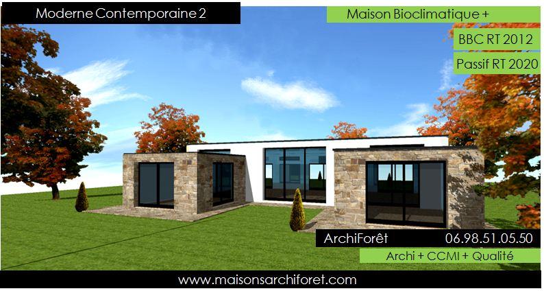 Plan maison en pierre moderne