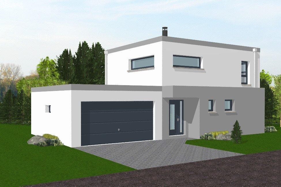 Maison neuve contemporaine toit plat for Photo maison contemporaine toit plat
