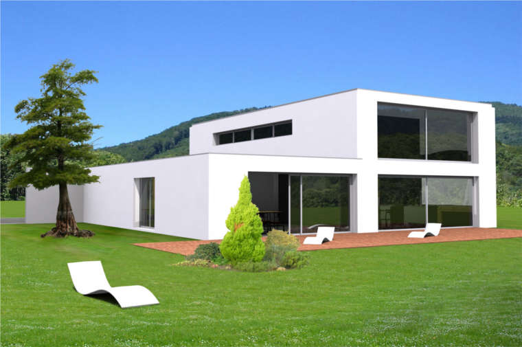 Mod le maison neuve moderne toit plat for Photo maison contemporaine toit plat
