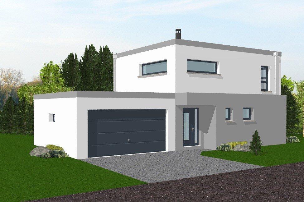 Maison neuve moderne toit plat for Maison moderne 06