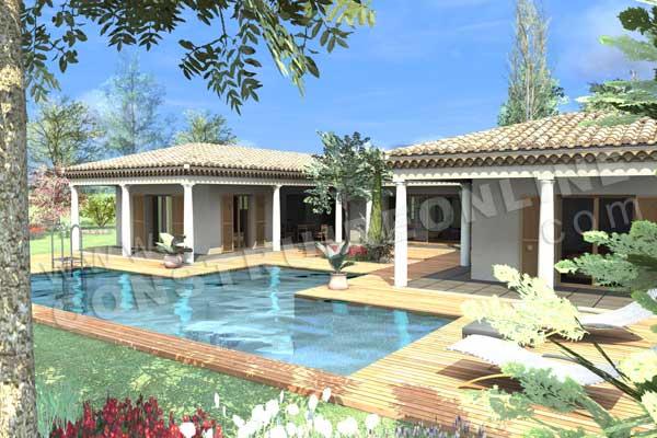 maison provencale avec piscine toit plat. Black Bedroom Furniture Sets. Home Design Ideas