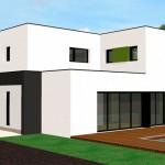 photo de maison design avec piscine toit plat