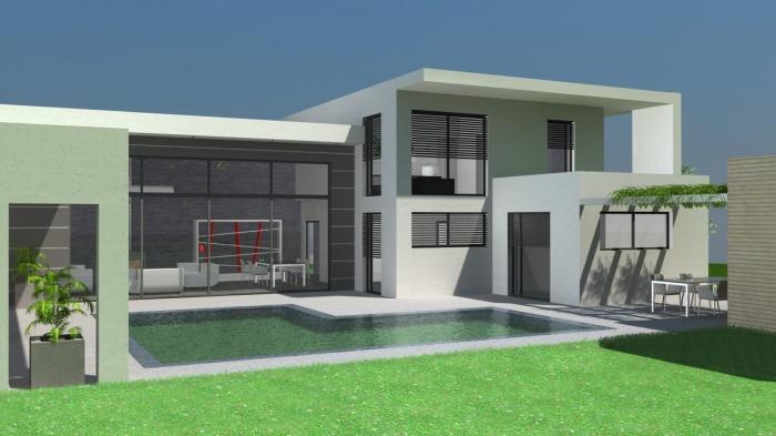 Photo de maison design avec piscine toit plat - Belle architecture maison ...