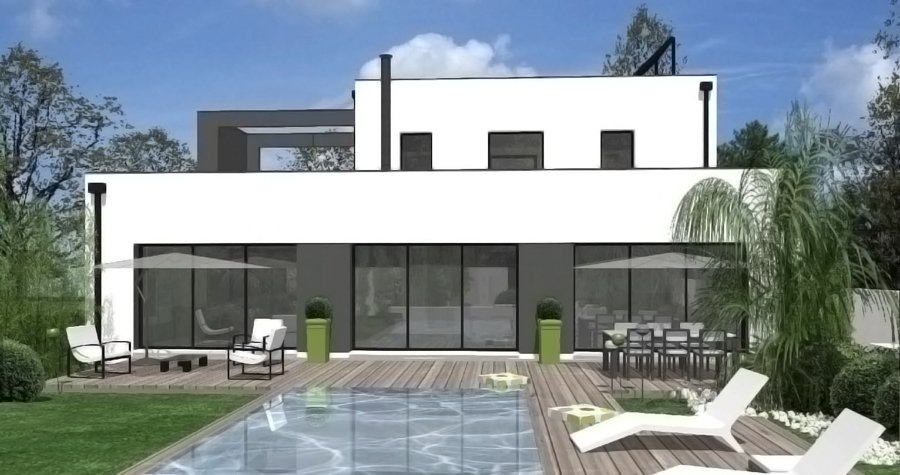 Photo de maison design avec piscine toit plat for Photo maison avec piscine