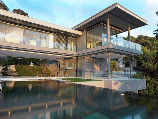 Univers photo de maison design avec piscine toit plat - Toit de maison dessin ...