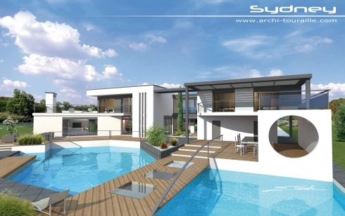 Photo de maison design toit plat - Toit de maison dessin ...