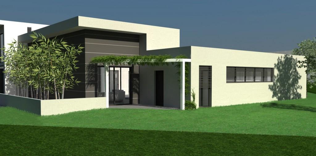 mod le photo de maison moderne toit plat. Black Bedroom Furniture Sets. Home Design Ideas