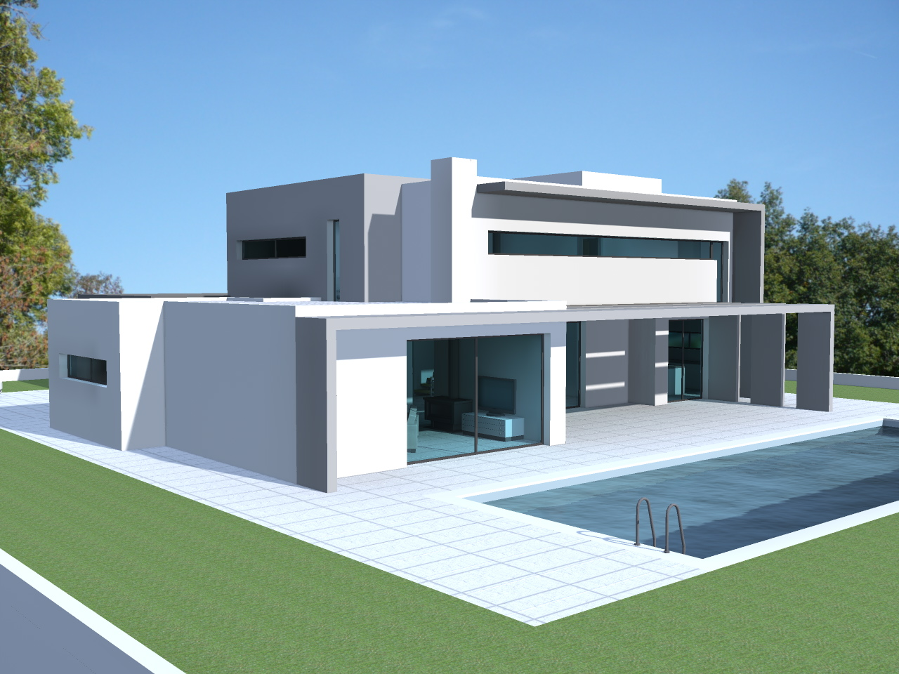 Construction contemporaine maison moderne maison - Construction toit plat ...