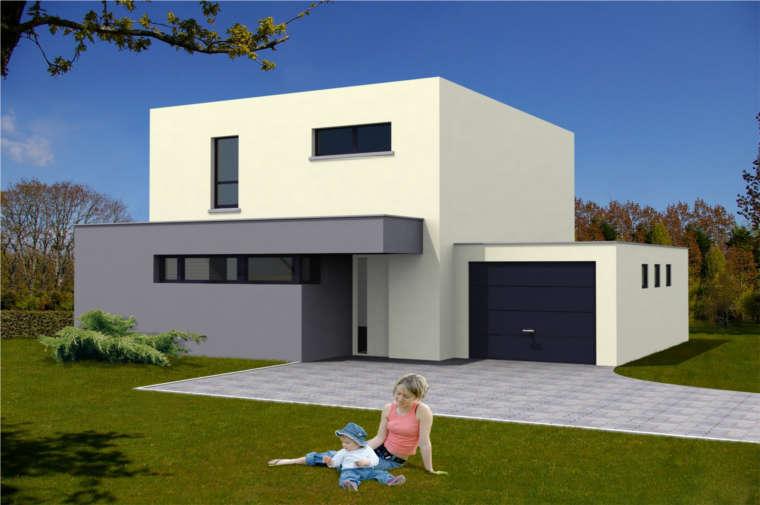 Photo de maison neuve moderne toit plat for Exemple de maison neuve