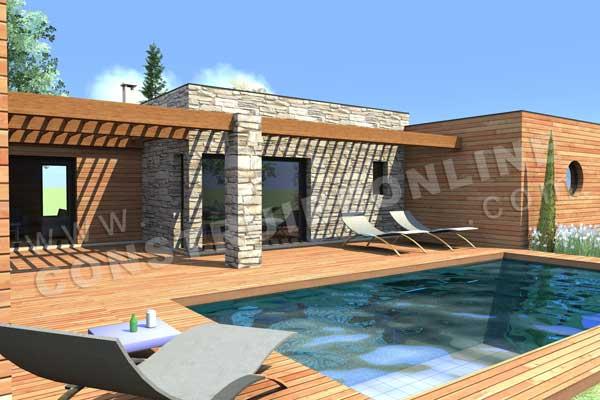 maison de ville avec piscine toit plat. Black Bedroom Furniture Sets. Home Design Ideas