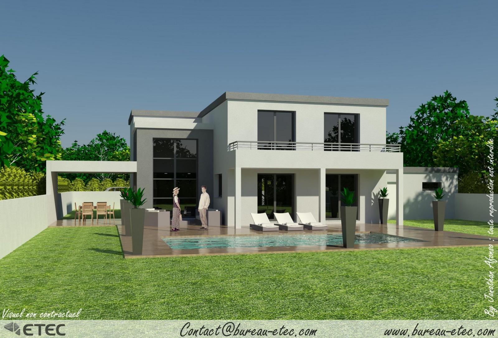 Maison de ville avec piscine toit plat for Terrasse etage maison