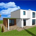 maison en pierre contemporaine toit plat