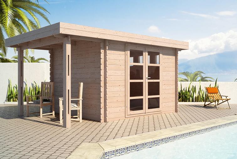 Chalet bois kit toit plat - Abri de jardin habitable toit plat ...