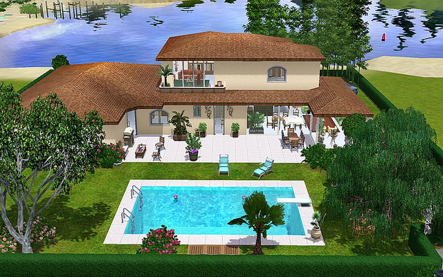 Maison contemporaine sims 3 for Maison moderne sims 4