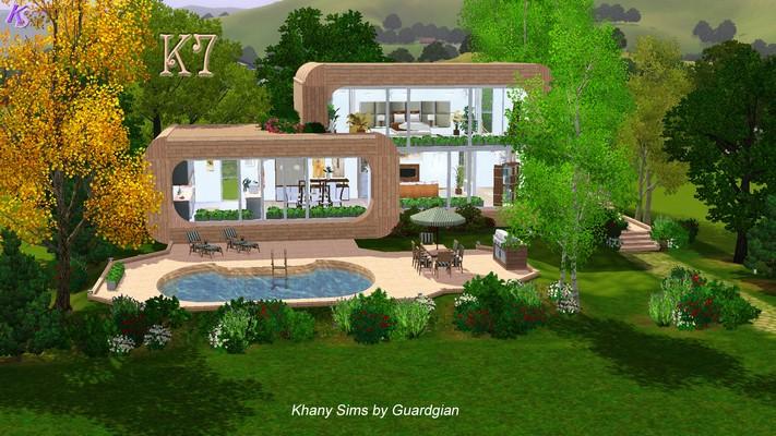 maison contemporaine sims 3. Black Bedroom Furniture Sets. Home Design Ideas