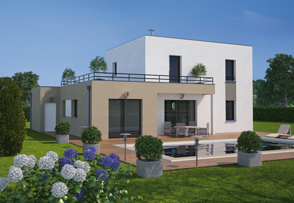 Maison contemporaine toit terrasse for Maison contemporaine 140m2