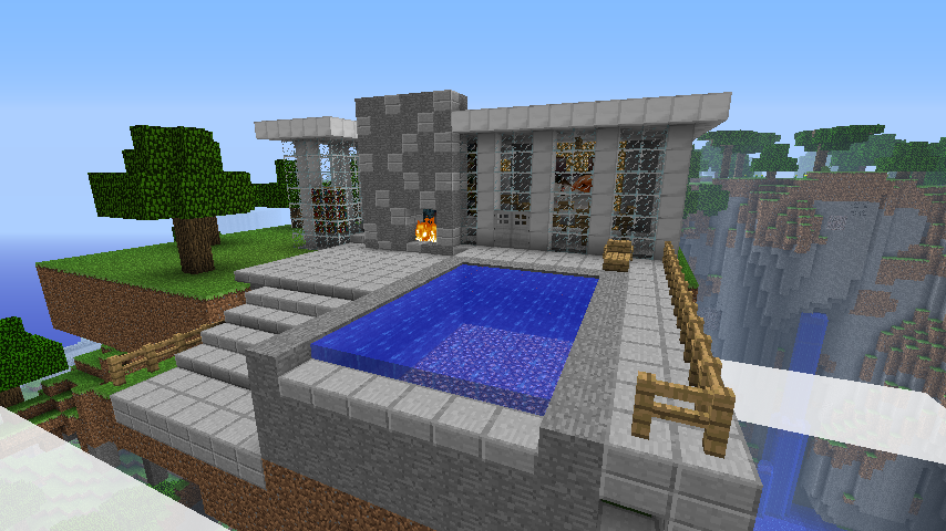 Maison contemporaine minecraft for Modele maison minecraft