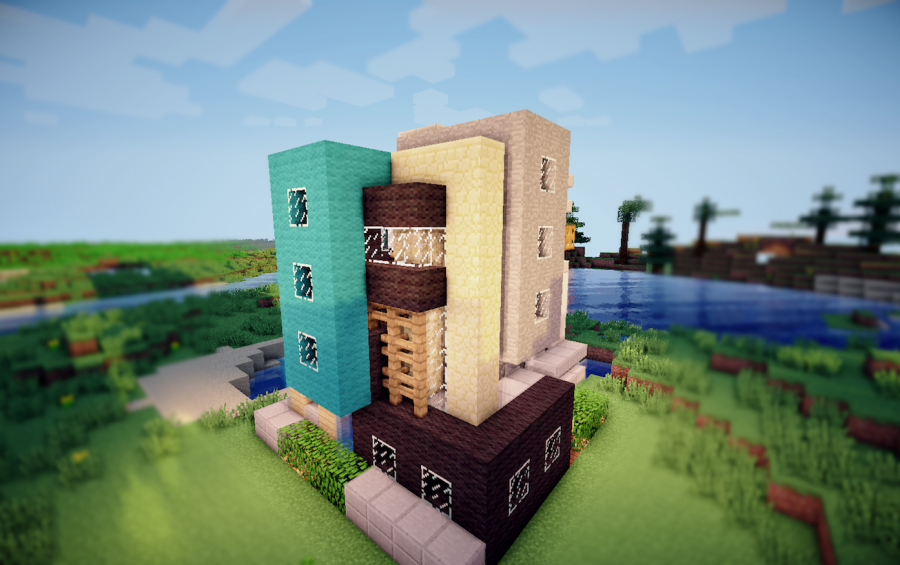 Model Maison Minecraft : Ophrey maison moderne bois minecraft prélèvement d
