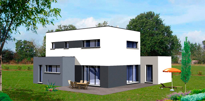 Maison contemporaine plan for Belle maison moderne plan