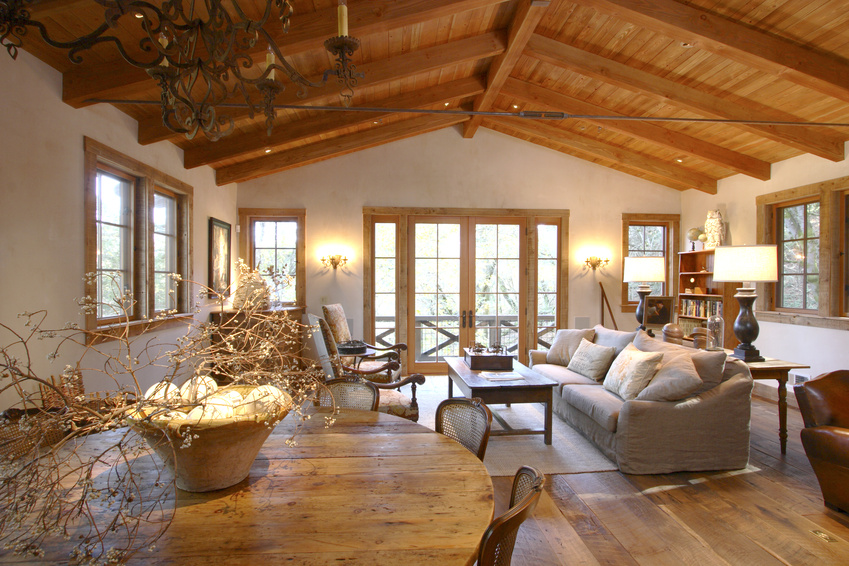 Decoration Interieur Maison En Bois : Living Room with Wood Floor and Ceiling