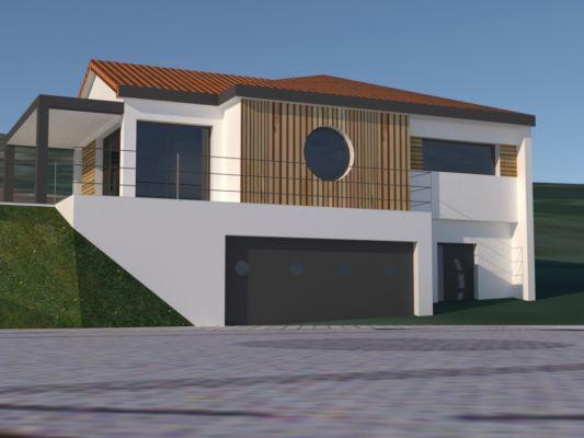 Maison sur terrain en pente exemple elegant maison toit for Maison moderne terrain en pente