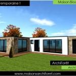 maison en pierre moderne toit plat