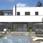 photo de maison avec piscine toit plat