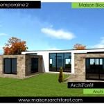 photo de maison en pierre d'architecte toit plat