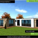 photo de maison en pierre contemporaine toit plat