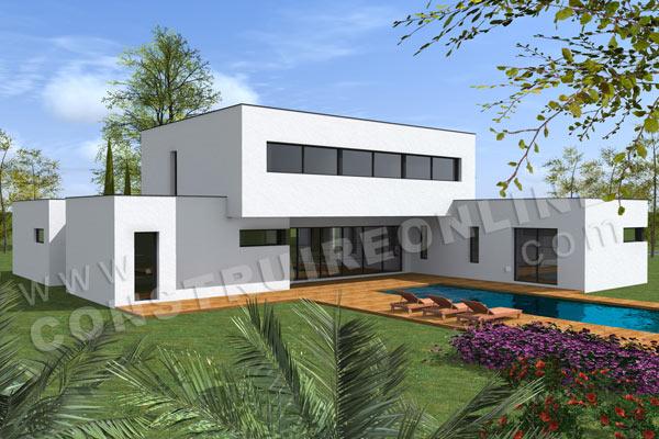 photo de maison provencale d'architecte toit plat